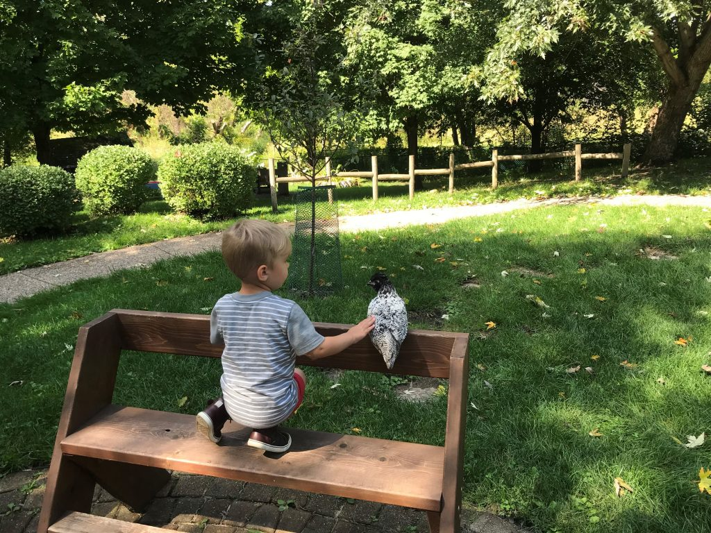 A Dodge Nature Center preschooler and Eddie sit together on a bench enjoyingthe outdoors.